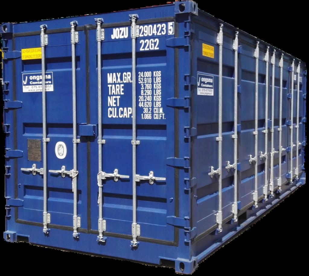 Zijdeurcontainer, zeecontainer met extra deuren aan de zijkant van de container.