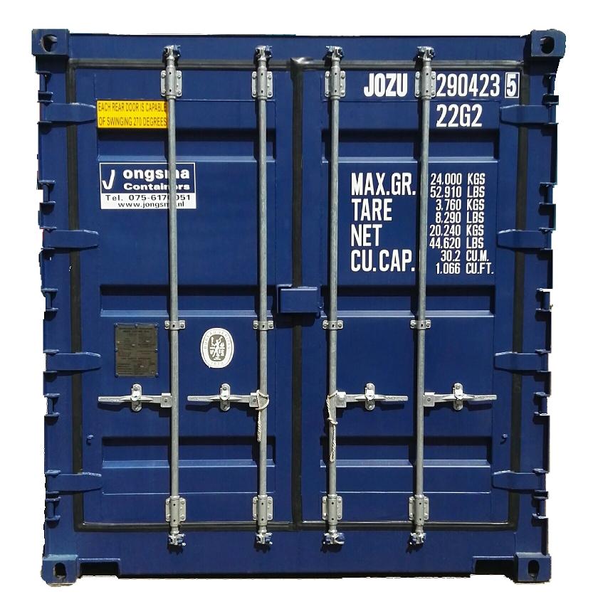 Deuren van een zeecontainer met veel informatie over de container erop