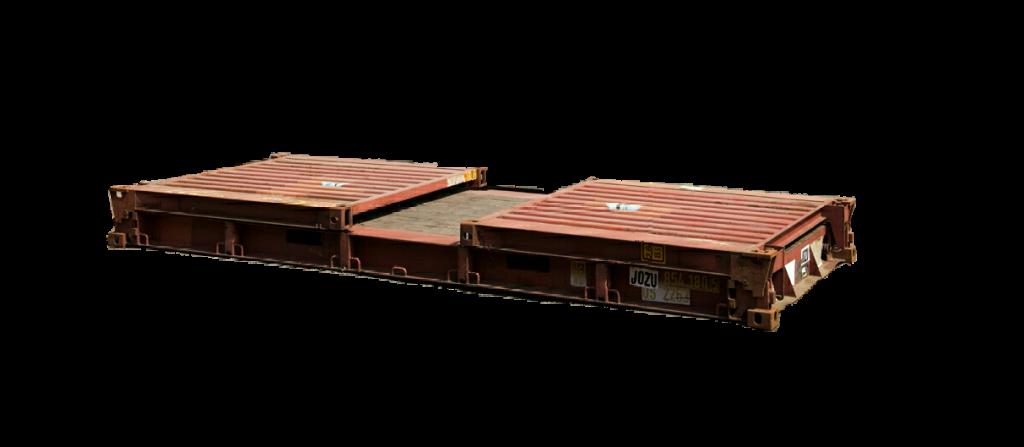 Ingeklapte schotten van flat rack container